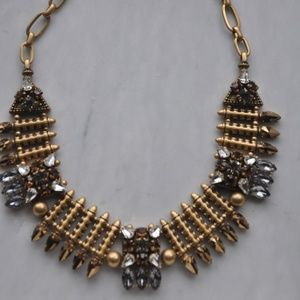RARE JCREW STATEMENT Brass and Crystal  Necklace